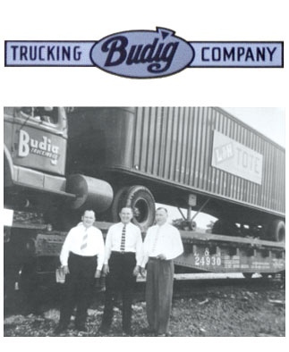 Photograph taken on June 18, 1956 when the first L&N trailer was loaded onto a flatcar. Otto Budig, Sr. (center) is shown with L&N's Charles 'Packy' McFarland and Joe Mann.