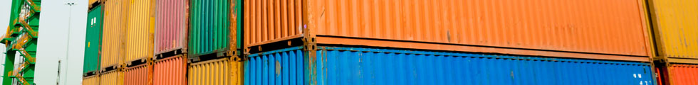 Shipping containers of various bright colors